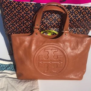 Tory Burch Bombe Leather Tobacco Tote